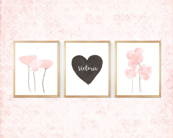 Black and Blush Nursery, Set of 3-8x10 Watercolor Prints,