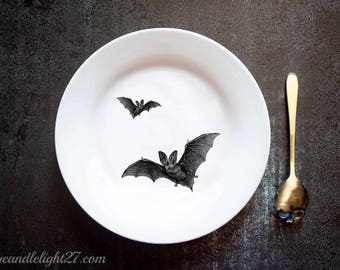 Flying Bats, Gothic Dining, Gothic Decor, Halloween Decor, Ocult Decor, Halloween Gift,  Halloween decoration, Hand Pressed Plate, Bar Decor