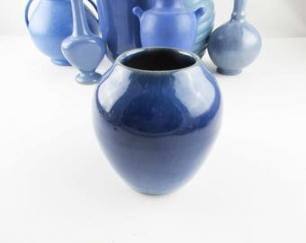 Vintage Blue Globe Vase With Gold Streaked Rim - Cobalt Blue With Streaking - Ceramic - Art Pottery - Vase - 1960s Collectible