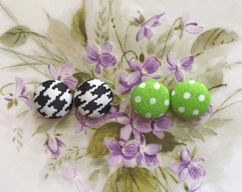 Fabric Button Earrings / Set of 2 / Wholesale Jewelry / Houndstooth / Small Gifts for Her / Polka Dots / Stud Earrings / Vintage Inspired