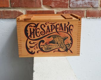 Chesapeake Duck Hunting/Ammo Dovetail Wood Box/Crate