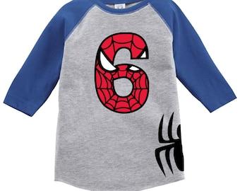 Spiderman Inspired Birthday Shirt Raglan with Custom Name