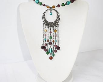1970s Bohemian Necklace Choker Collar Tassel Dangle Chains Pendant With Art Glass Beads Victorian Revival