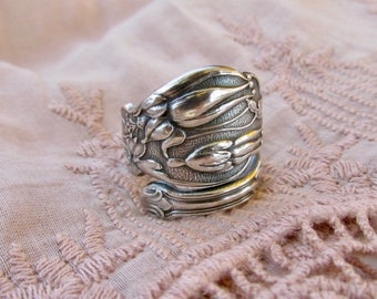 Columbine Flower Spoon Ring Thumb Ring  Rare Gorham Pattern Symbolic of Beauty Fertility Motherhood