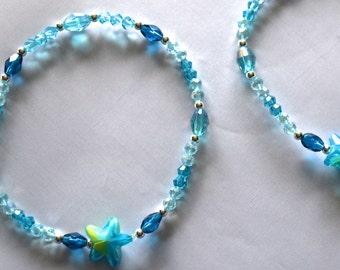 Swarovski Aqua Blue Stretch Sterling Silver Anklet