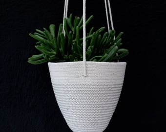 Hanging Planter in Cloud Grey  // Cotton Rope Hanging Planter // urban jungle // jungalow // succulent pot // cactus pot