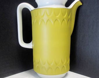 Mayer China - Sculptura Yellow with Auric Gold Line - Restaurant Ware - Coffee Pot SALESMAN SAMPLE Hard to Find