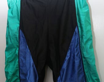 "Rare 80's Vintage ""REEBOK Sport"" Nylon and Lycra Colorblocked Biker Shorts with Logo Sz: LARGE (Men's Exclusive)"