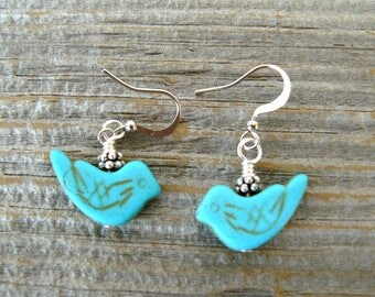 Turquoise Bird Earrings, Turquoise and Silver Boho Style Dangles, Southwestern Jewelry, Howlite Bird Beads