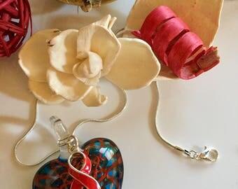 Red Ribbon - Glass Heart Pendant - HIV Aids Awareness, Heart Disease Attack, Brain Aneurysm, Sober Living, Heart Failure