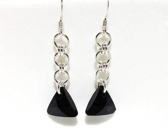 Black Swarovski Crystal Earrings, Long Sterling Silver Earrings, Chainmaille Earrings, Black Crystal Jewelry, Dangle Earrings