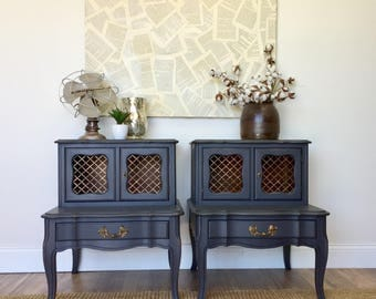 Gray Nightstands - French Provincial Furniture - Matching Nightstands - Vintage Bedroom Furniture, Distressed End Tables, Vintage Nightstand