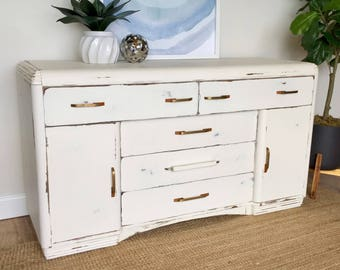 Art Deco Waterfall Buffet   White Sideboard   Distressed Furniture   TV  Media Stand   Vintage