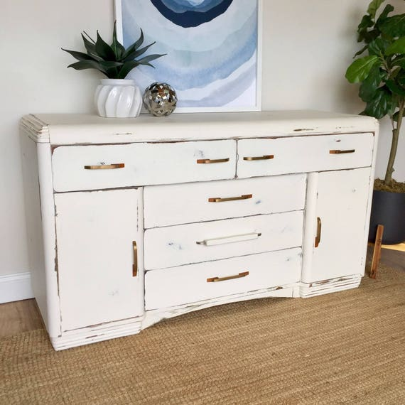 Art Deco Waterfall Buffet - White Sideboard - Distressed Furniture - TV Media Stand - Vintage Credenza - Entry Way Furniture - Dining Buffet