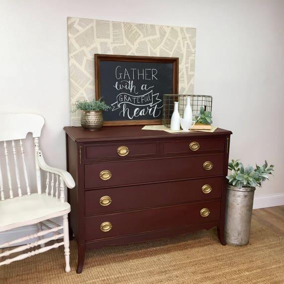 Red Dresser - Vintage Furniture - Four Drawer Dresser - Federal Style Furniture - Double Dresser - Mahogany Dresser - Painted Furniture