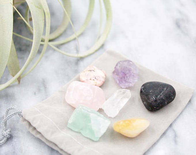 Intention Stone Set | 7 Crystal Gift Set Velveteen Pouch | Black Tourmaline Rhodochosite Amethyst Fluorite Citrine Rose Quartz Gifts For Her