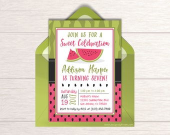 Watermelon Invitation - Printable Invite - Watermelon Party - Sweet Celebration - Girls Birthday Party Package - Summer Birthday Idea - BP02