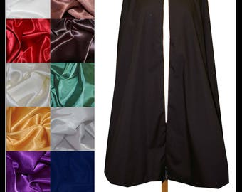 High Quality Unisex Black Poly Cotton Fighting Cloak lined with Shimmer Satin. Ideal for LARP Medieval Costume. Made especially for you