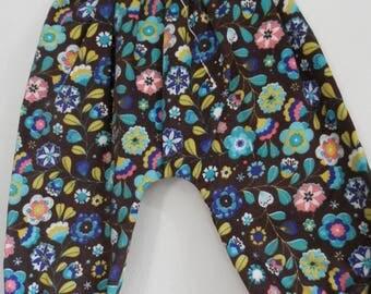 harem pants reversible velvet flower 6-12 months