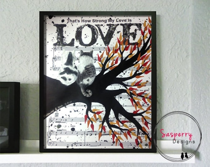 Cat Painting Wedding Song Lyric Art  - Engagement Gift for Couples Love Cat Silhouette - Paper First Anniversary Gift For Wife or Husband