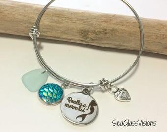 "Sea Glass Bracelet, Adjustable, Bangle Bracelet, Light Blue Sea Glass, ""Really a Mermaid"" Charm, Blue Mermaid Scale Charm, Beach Bracelet"