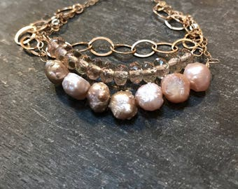 bubbly... pearl and crystal gold multi strand bracelet / raw rose pearl and champagne crystal rondelle 14k gold filled dangle bracelet