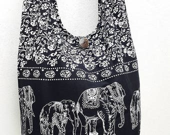 Women bag Handbags Cotton bag Elephant bag Hippie Hobo bag Boho bag Shoulder bag Sling bag Messenger bag Tote Crossbody Purse Black White