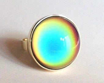 Mood Ring 8k 333 - 14k 585 Yellow Gold - 20 mm - big stone - DELUXE