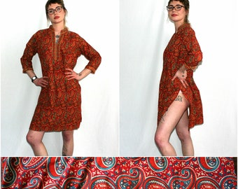 Psychedelic Paisley Funky Dashiki Tunic Indian Dress. Caftan Style Ethnic Trippy Midi Long Sleeve Dress With. Orange Red Paisley