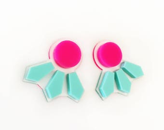 Seeker Studs in Hot Pink and Mint
