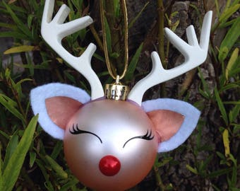 Rose Gold Rudolf the Reindeer Christmas Bauble DIY kit ( bauble not incl )