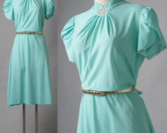 Vintage Dress,Victorian style dress,Vintage 70s Dress,Vintage mint green dress,Vintage secretary dress,70s secretary dress,Aline dress - M/L