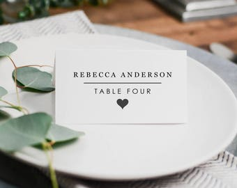 minimalist wedding place cards table setting printable template diy wedding seating cards instant