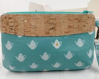 Curvy Clutch w/ Wrist Strap - Tea Time & Natural Metallic Cork Fabric