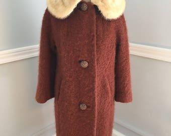 Vintage Winter Fur Collar Coat/Copper Color Winter Coat