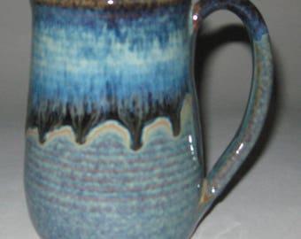 Limited Edition Pottery Mug, XL 22 oz Blue Lagoon, Handmade, Microwave Dishwasher Safe