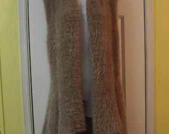 Bohemian Sweater High Low Fuzzy Vest Size XL Crocheted