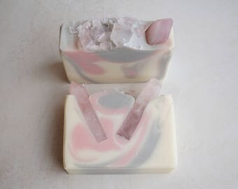 Rose Quartz Soap Bar - Sweet Citrus, Pink Fruit, Delicate Rose Scent - Cold Process Soap with Avocado Oil and Shea Butter