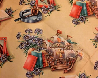 Antique Wrapping Paper c 1940s Gift Wrap Masculine Man Pipes Ships Boats Books Horses Vintage 2 Large Sheets