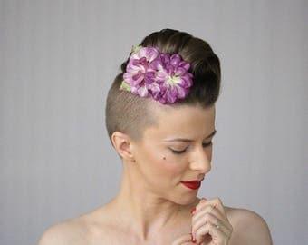 "Purple Hair Clip, 1950s Flower Headpiece, Lilac Hair Accessory, Vintage Floral Headband for Women, Dahlia - ""Twilight Plum"""