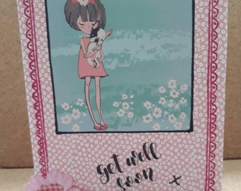 Handmade get well soon greetings card-pink based get well soon card with pug on front and blank inside