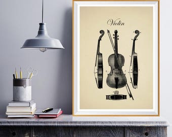 Violin Poster, Violin Art, Orchestra, Violin Wall Art, Classical Music, Classical Art, Symphony, Musician Art