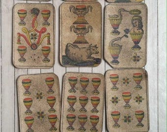 Antique card games deck set playing cards French Aluette la Vache Cow Game19th - early15th century outdoor team entertainment sets