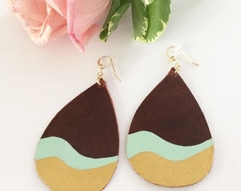 Leather earrings, handpainted earrings, painted leather, geometric earrings, gold dipped earrings, summer accessory, mint