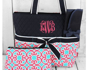 3pc Personalized Diaper Bag Set Monogram Baby Tote Changing Pad Baby Bag