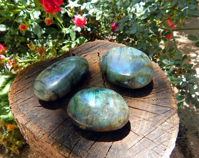 MEDIUM Polished Labradorite palm stones spectrolite - Reiki Wicca Pagan Geology gemstone specimen
