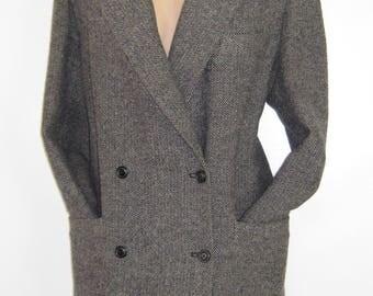 LAURA ASHLEY Vintage Cambrian Herringbone Wool Tweed Country Hacking Jacket, UK 14