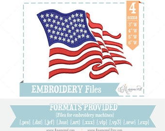 USA Flag Design: Embroidery File for Machines; Embroidery Design for Download, Flag Embroidery, USA Flag Embroidery, American Flag Design