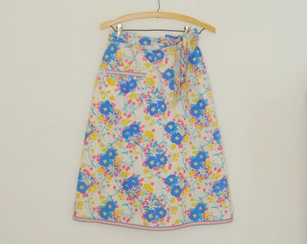 Blue Floral Lilly Pulitzer Wrap Skirt- 1970s