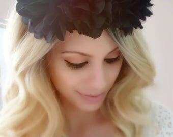 Black Flower Crown, Black Headpiece, Floral Crown, Flower Headband